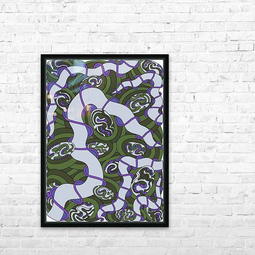 Wandering Abstract Line Art 04: Green HD Sublimation Metal print with Decorating Float Frame (BOX)