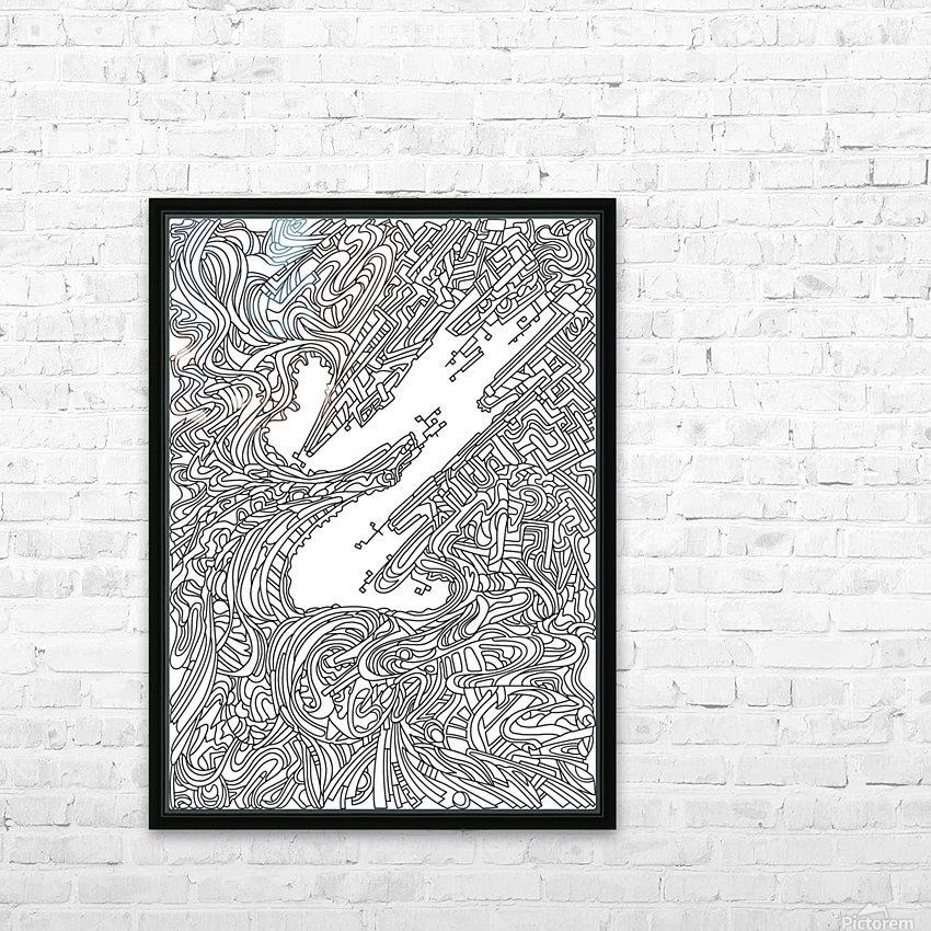 Wandering Abstract Line Art 05: Black & White HD Sublimation Metal print with Decorating Float Frame (BOX)