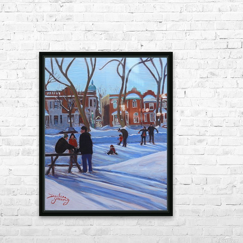 Learning to Skate at Outremont Park HD Sublimation Metal print with Decorating Float Frame (BOX)