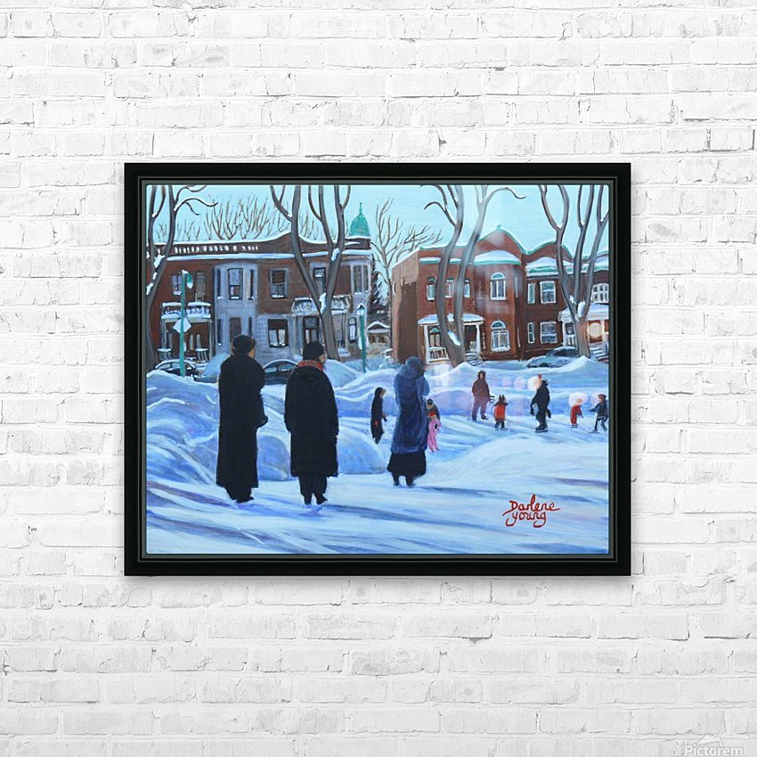 Outremont Park Skating Scene HD Sublimation Metal print with Decorating Float Frame (BOX)