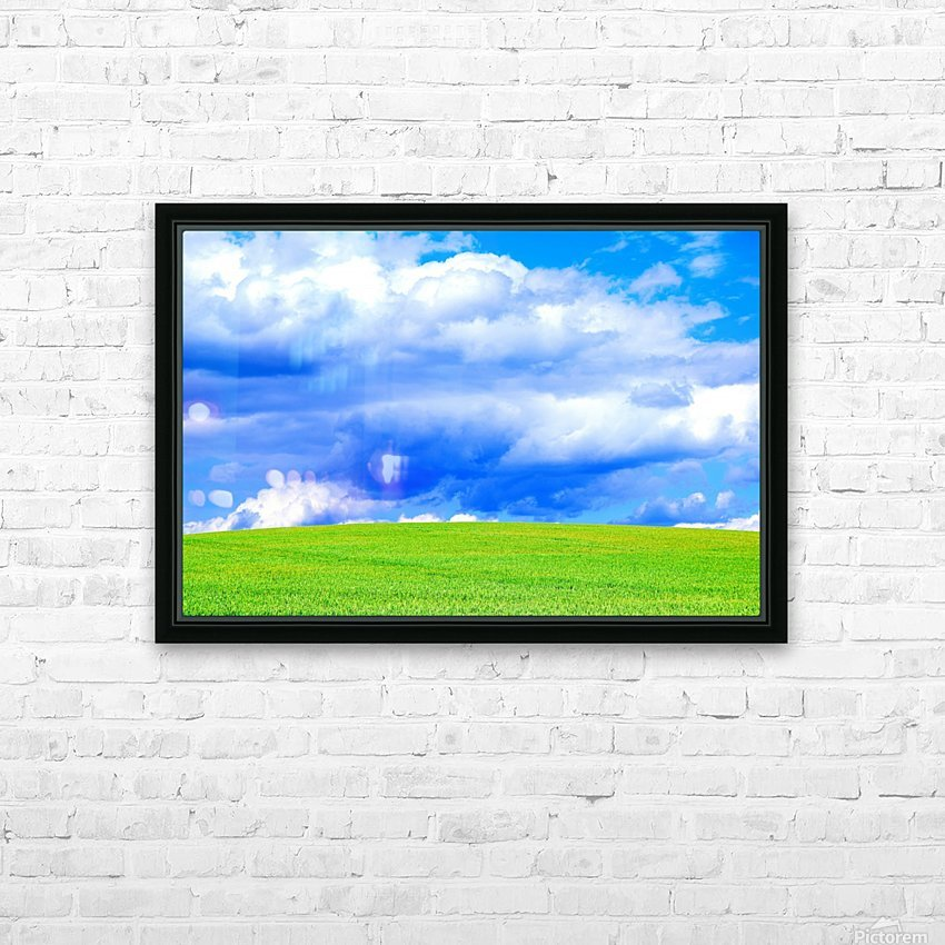 Blue Sky Clouds Field Bright Colorful Scenery Background  HD Sublimation Metal print with Decorating Float Frame (BOX)