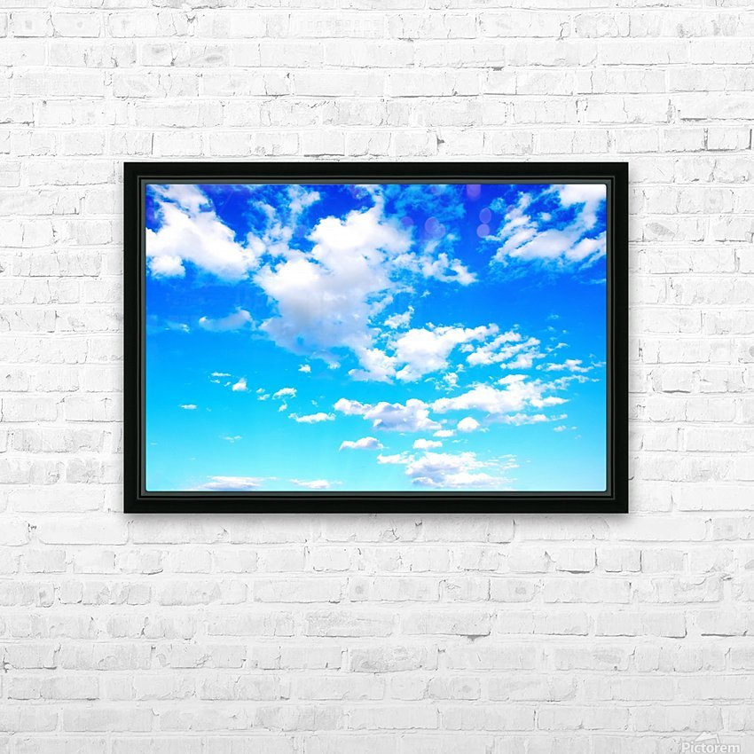 Bright Sky Blue with Clouds Colorful Scenic Background HD Sublimation Metal print with Decorating Float Frame (BOX)