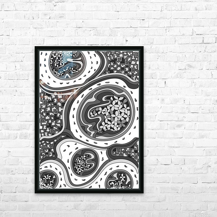 Wandering Abstract Line Art 06: Grayscale HD Sublimation Metal print with Decorating Float Frame (BOX)