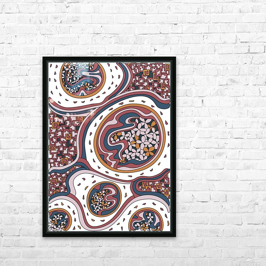 Wandering Abstract Line Art 06: Orange HD Sublimation Metal print with Decorating Float Frame (BOX)