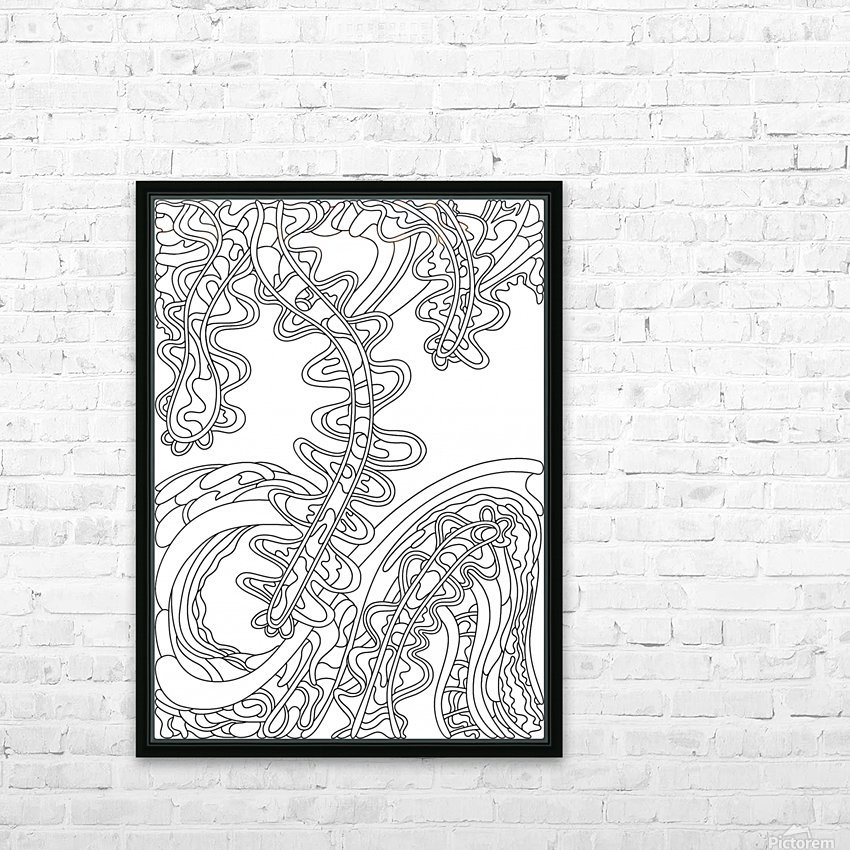 Wandering Abstract Line Art 07: Black & White HD Sublimation Metal print with Decorating Float Frame (BOX)