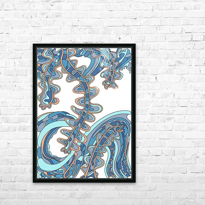 Wandering Abstract Line Art 07: Blue HD Sublimation Metal print with Decorating Float Frame (BOX)