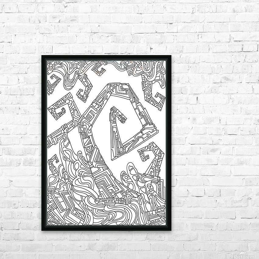 Wandering Abstract Line Art 08: Black & White HD Sublimation Metal print with Decorating Float Frame (BOX)