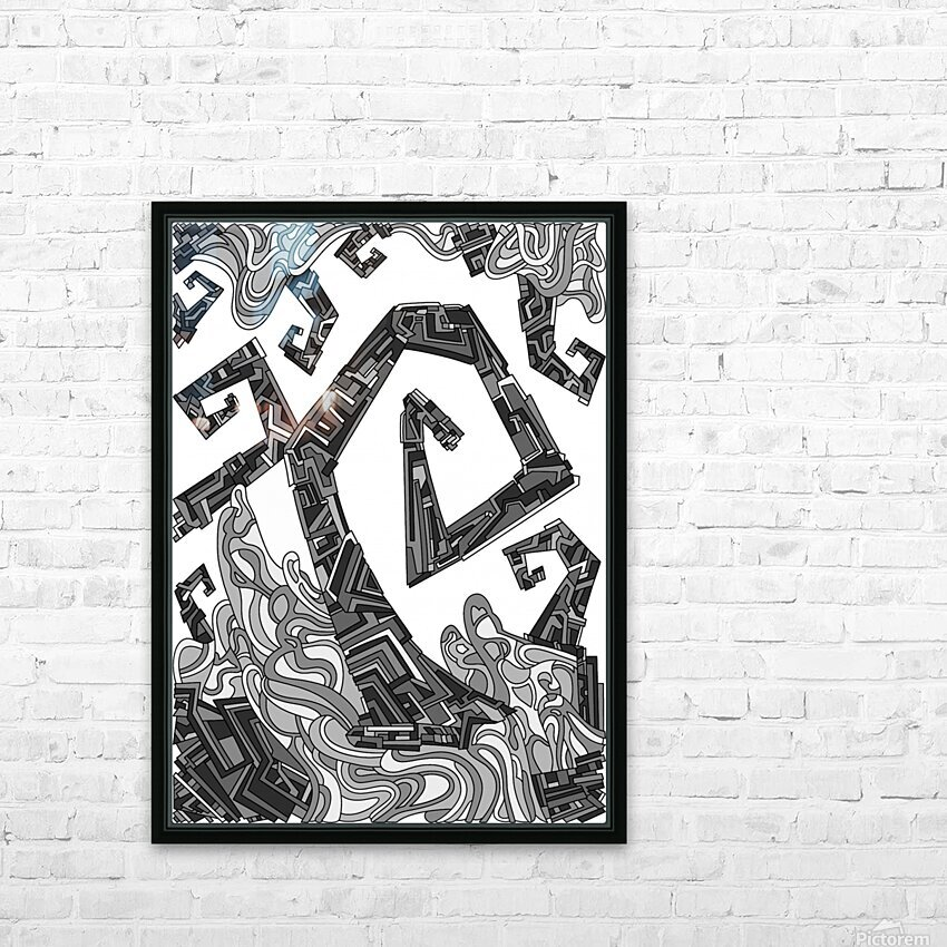 Wandering Abstract Line Art 08: Grayscale HD Sublimation Metal print with Decorating Float Frame (BOX)