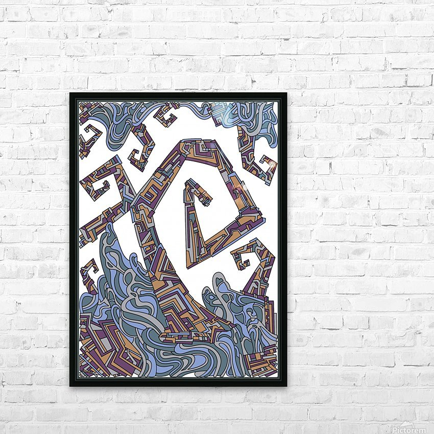 Wandering Abstract Line Art 08: Yellow HD Sublimation Metal print with Decorating Float Frame (BOX)