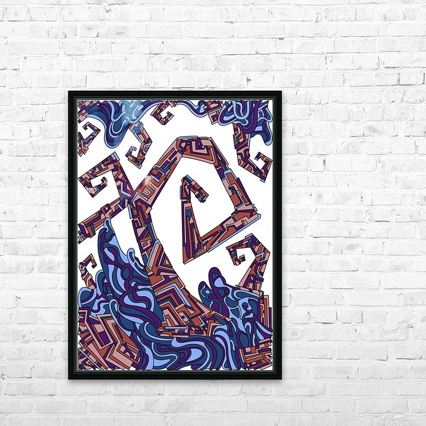 Wandering Abstract Line Art 08: Purple HD Sublimation Metal print with Decorating Float Frame (BOX)