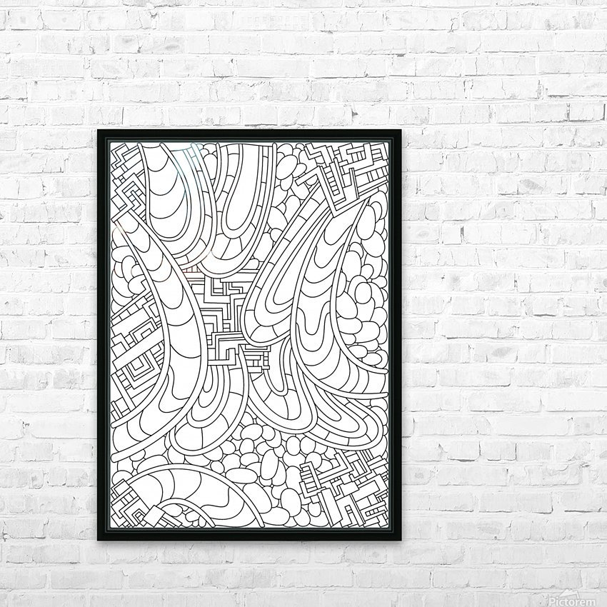 Wandering Abstract Line Art 09: Black & White HD Sublimation Metal print with Decorating Float Frame (BOX)
