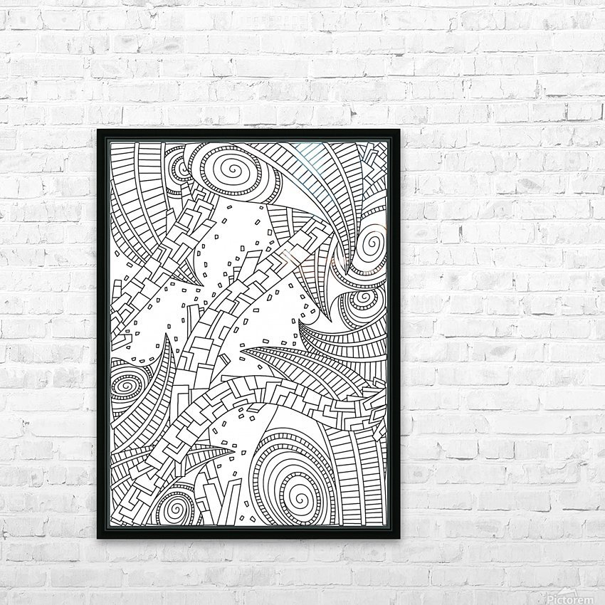 Wandering 10: black & white line art HD Sublimation Metal print with Decorating Float Frame (BOX)