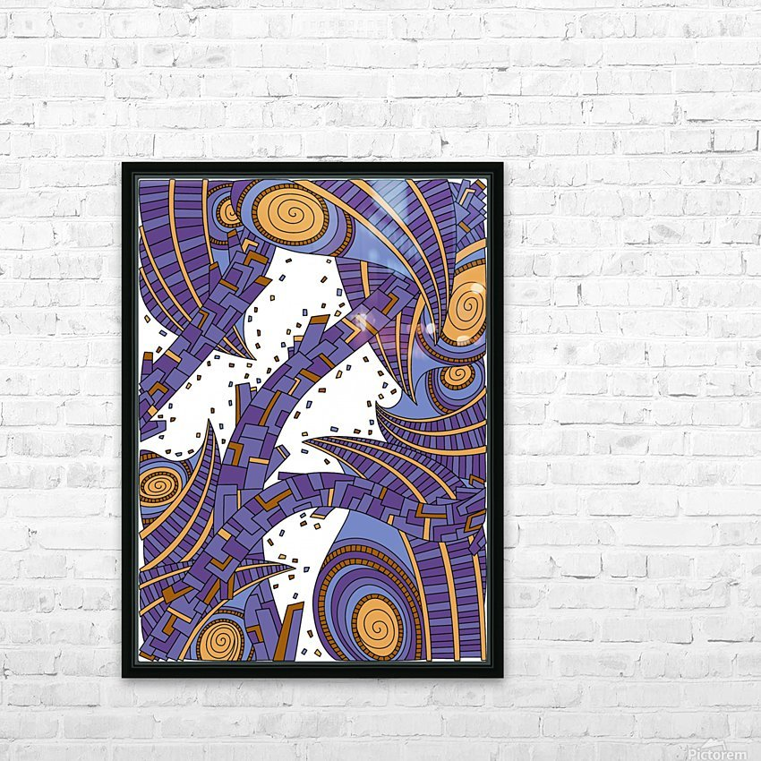 Wandering Abstract Line Art 10: Purple HD Sublimation Metal print with Decorating Float Frame (BOX)
