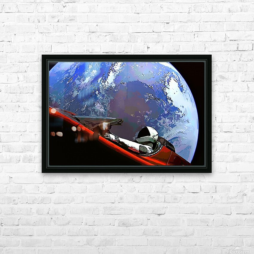 StarMan in Tesla Above Planet Earth HD Sublimation Metal print with Decorating Float Frame (BOX)
