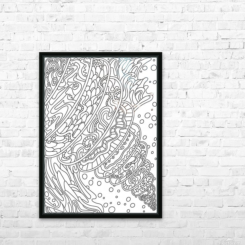 Wandering Abstract Line Art 11: Black & White HD Sublimation Metal print with Decorating Float Frame (BOX)