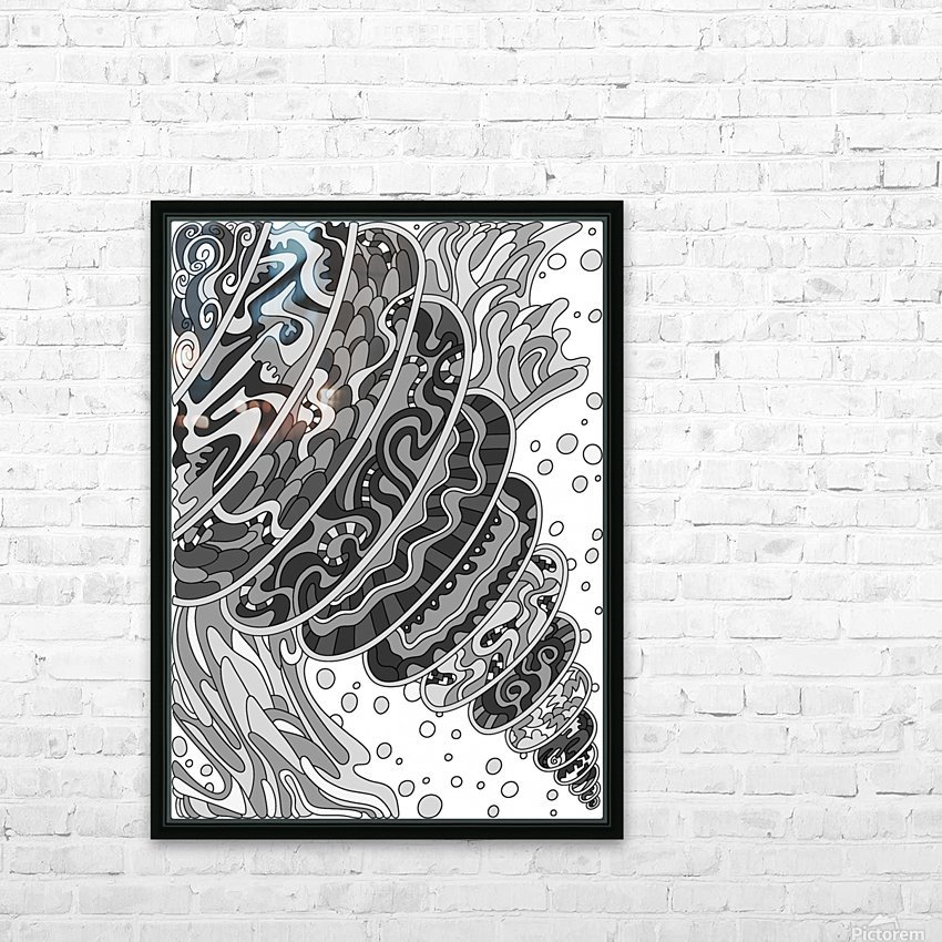 Wandering Abstract Line Art 11: Grayscale HD Sublimation Metal print with Decorating Float Frame (BOX)