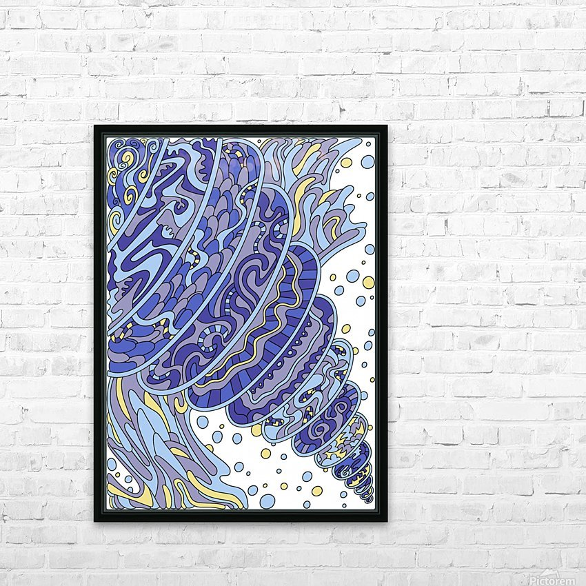 Wandering Abstract Line Art 11: Blue HD Sublimation Metal print with Decorating Float Frame (BOX)