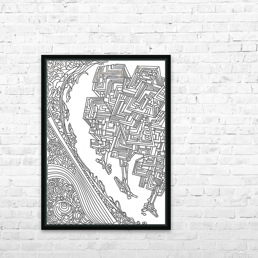 Wandering Abstract Line Art 12: Black & White HD Sublimation Metal print with Decorating Float Frame (BOX)