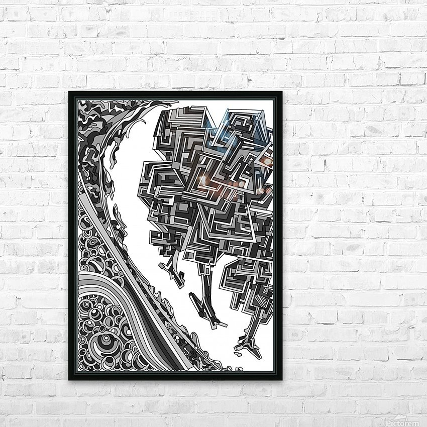 Wandering Abstract Line Art 12: Grayscale HD Sublimation Metal print with Decorating Float Frame (BOX)