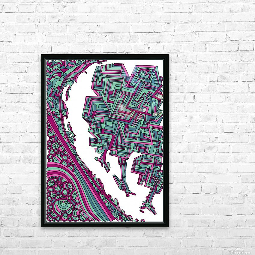 Wandering Abstract Line Art 12: Magenta HD Sublimation Metal print with Decorating Float Frame (BOX)