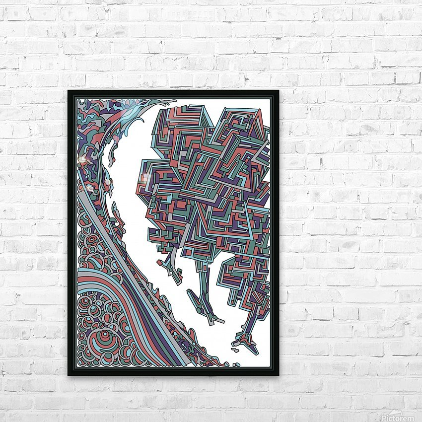 Wandering Abstract Line Art 12: Red HD Sublimation Metal print with Decorating Float Frame (BOX)