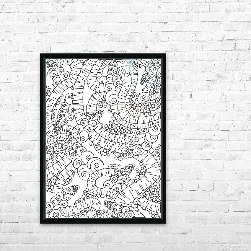 Wandering Abstract Line Art 13: Black & White HD Sublimation Metal print with Decorating Float Frame (BOX)