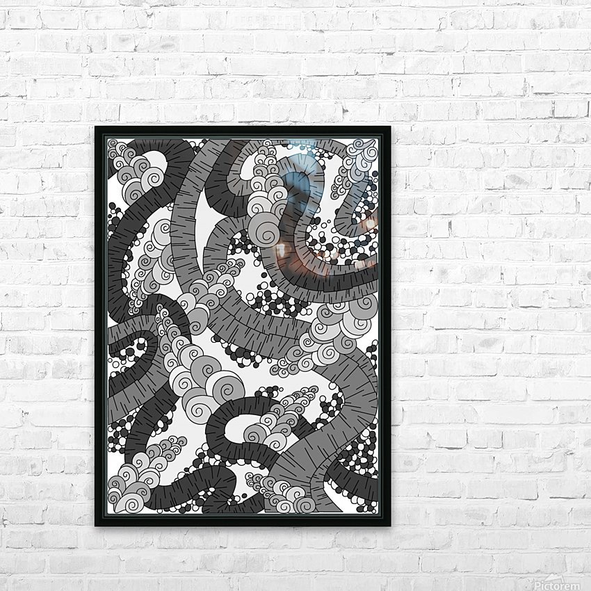 Wandering Abstract Line Art 13: Grayscale HD Sublimation Metal print with Decorating Float Frame (BOX)