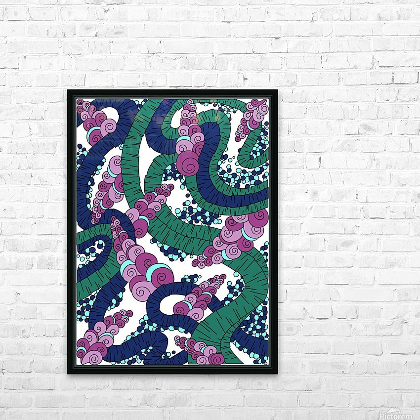 Wandering Abstract Line Art 13: Green HD Sublimation Metal print with Decorating Float Frame (BOX)