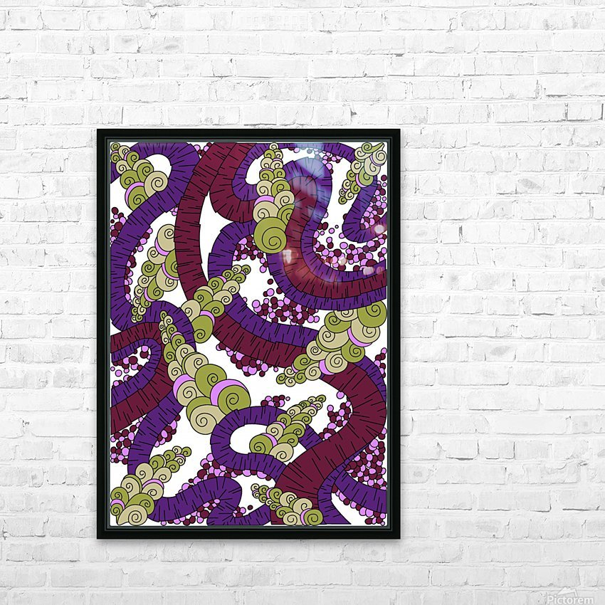 Wandering Abstract Line Art 13: Burgundy HD Sublimation Metal print with Decorating Float Frame (BOX)