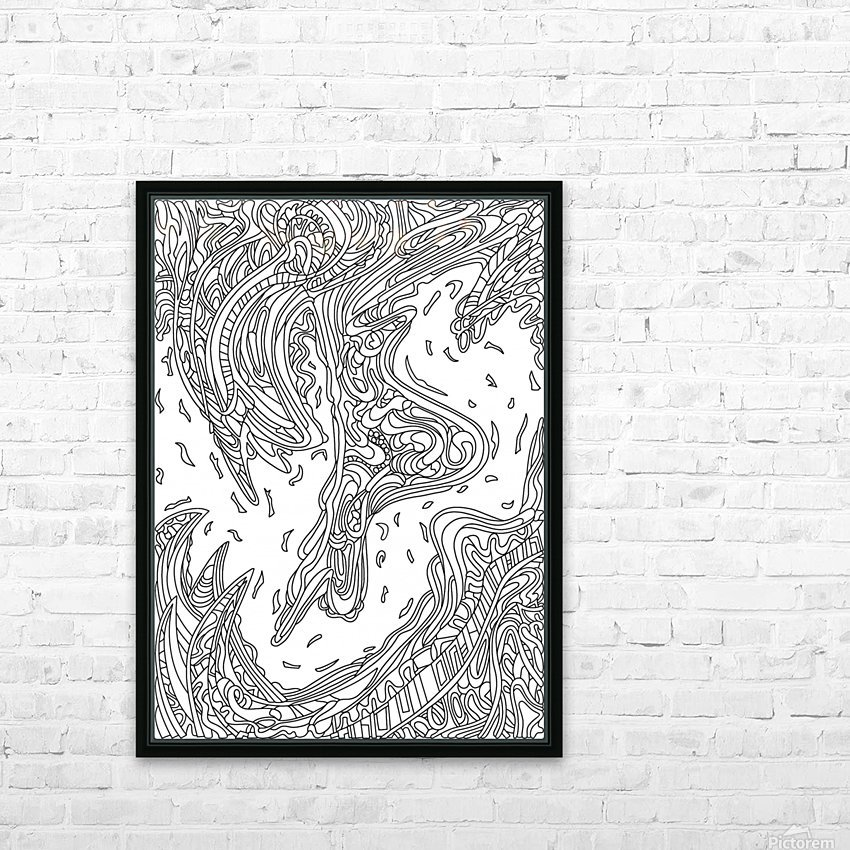 Wandering Abstract Line Art 14: Black & White HD Sublimation Metal print with Decorating Float Frame (BOX)