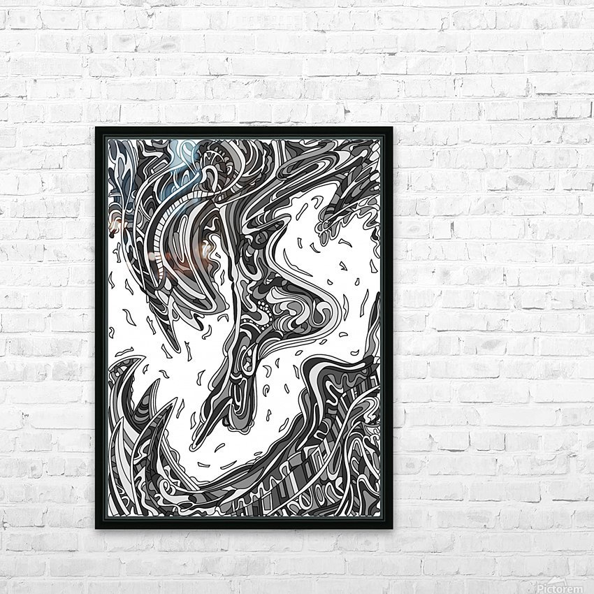 Wandering Abstract Line Art 14: Grayscale HD Sublimation Metal print with Decorating Float Frame (BOX)
