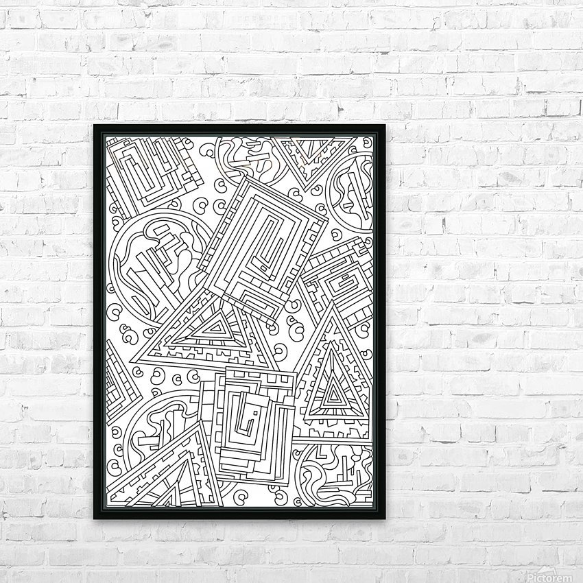 Wandering Abstract Line Art 15: Black & White HD Sublimation Metal print with Decorating Float Frame (BOX)