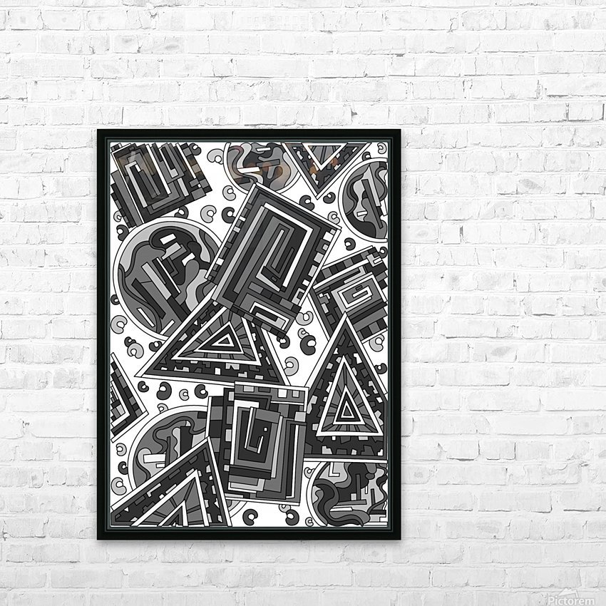 Wandering Abstract Line Art 15: Grayscale HD Sublimation Metal print with Decorating Float Frame (BOX)