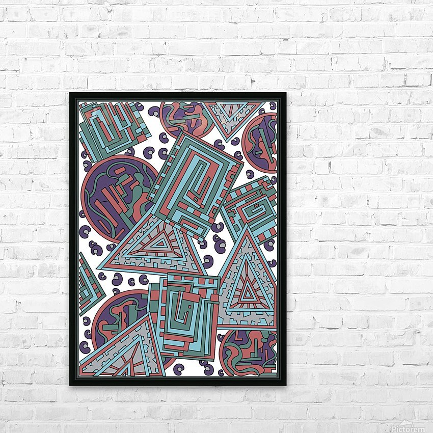 Wandering Abstract Line Art 15: Blue HD Sublimation Metal print with Decorating Float Frame (BOX)