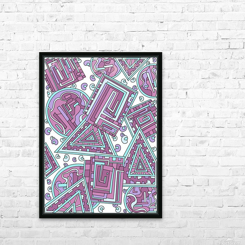Wandering Abstract Line Art 15: Pink HD Sublimation Metal print with Decorating Float Frame (BOX)