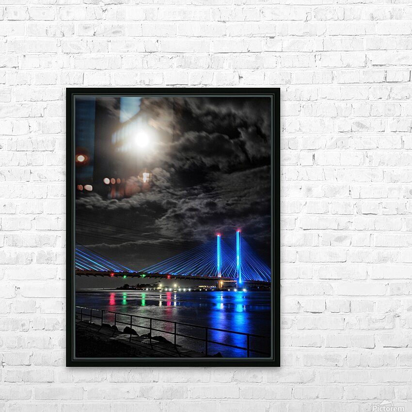 Blood Moon over the Indian River Bridge HD Sublimation Metal print with Decorating Float Frame (BOX)