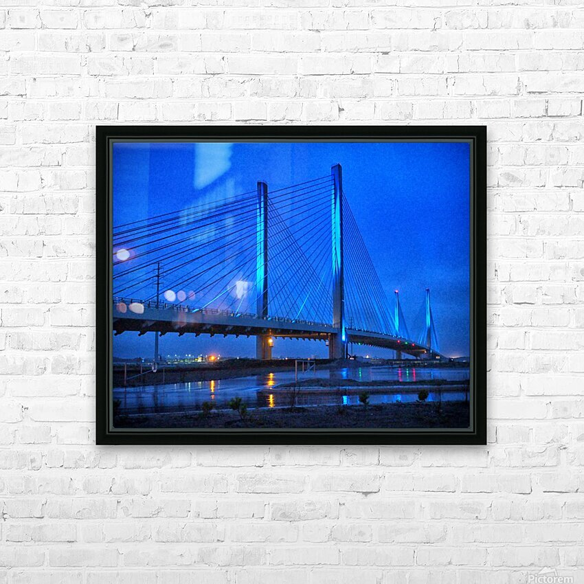 Blue Bridge In The Rain At Indian River Inlet HD Sublimation Metal print with Decorating Float Frame (BOX)