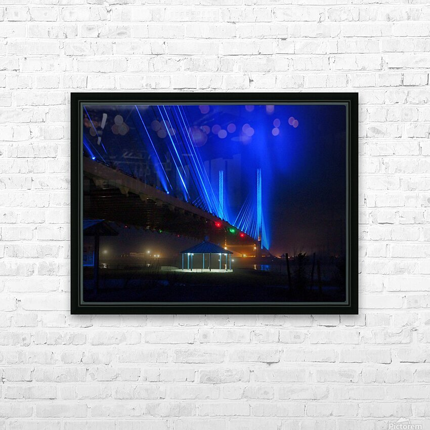 Foggy Night at the Indian River Bridge HD Sublimation Metal print with Decorating Float Frame (BOX)