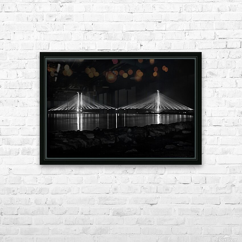 Indian River Bridge After Dark in Black and White HD Sublimation Metal print with Decorating Float Frame (BOX)