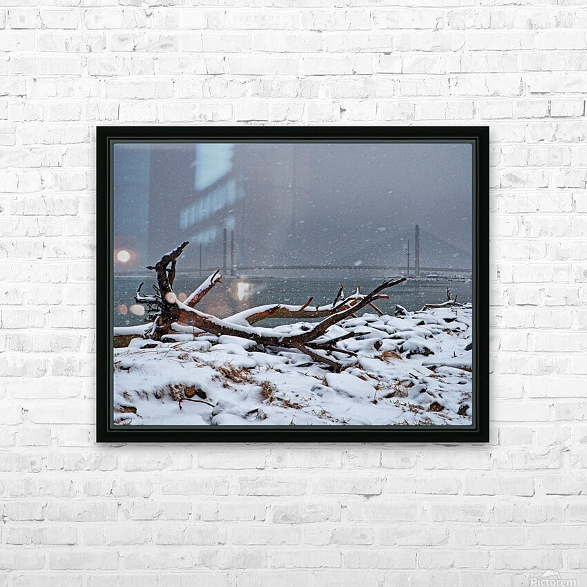 Indian River Bridge with Driftwood and Snow HD Sublimation Metal print with Decorating Float Frame (BOX)