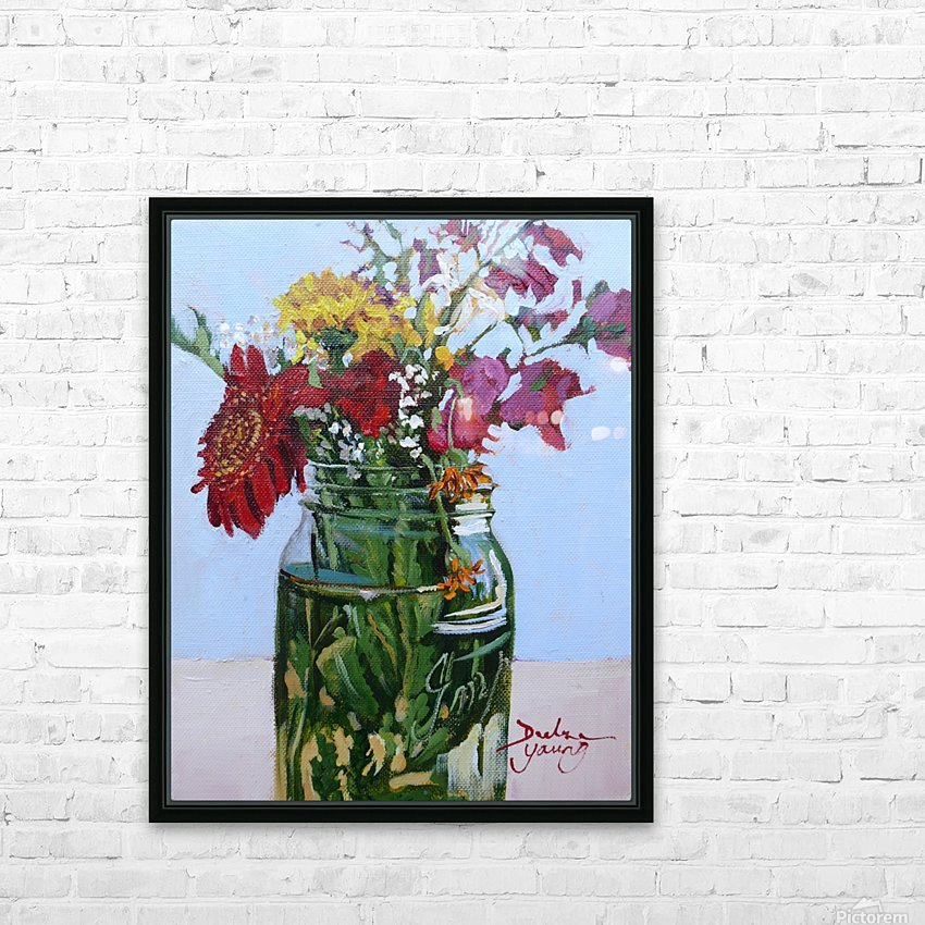 Flowers in a Mason Jar HD Sublimation Metal print with Decorating Float Frame (BOX)