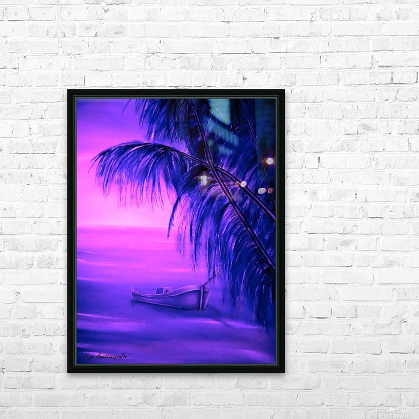 Boat At Sunset HD Sublimation Metal print with Decorating Float Frame (BOX)
