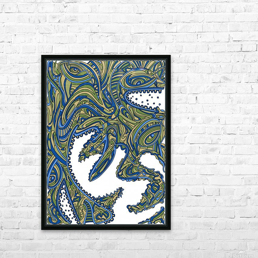 Wandering Abstract Line Art 17: Green HD Sublimation Metal print with Decorating Float Frame (BOX)
