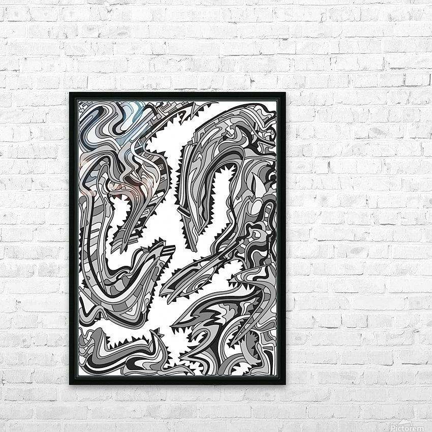 Wandering Abstract Line Art 26: Grayscale HD Sublimation Metal print with Decorating Float Frame (BOX)
