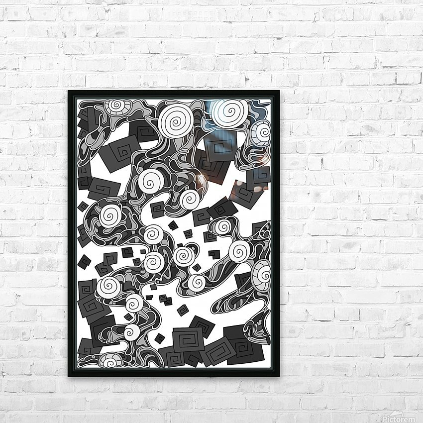 Wandering Abstract Line Art 29: Grayscale HD Sublimation Metal print with Decorating Float Frame (BOX)