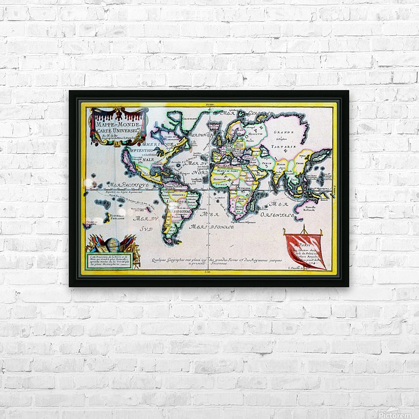 Ancient World Map 4 HD Sublimation Metal print with Decorating Float Frame (BOX)
