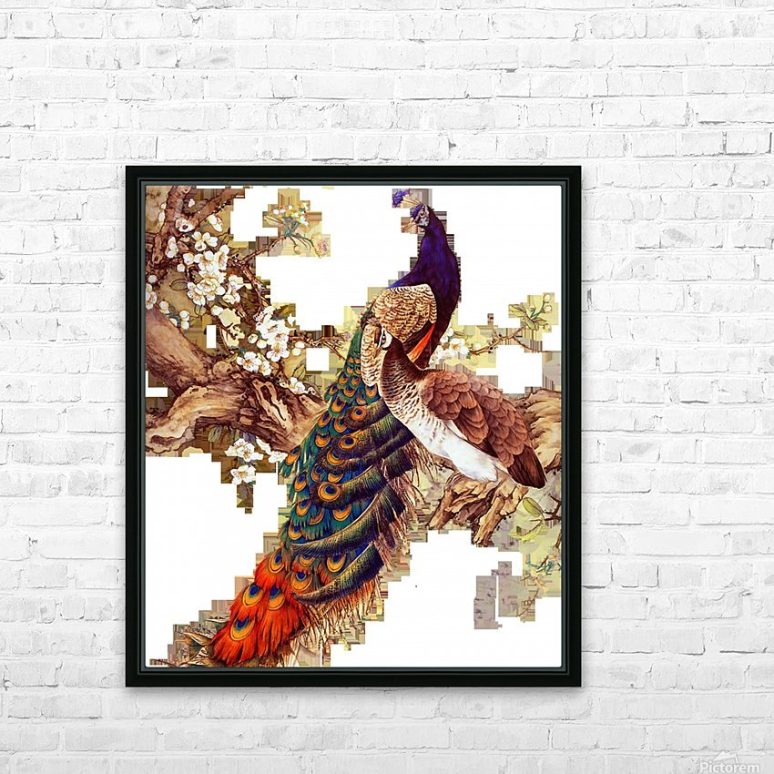 china peafowl glass feather peacock HD Sublimation Metal print with Decorating Float Frame (BOX)