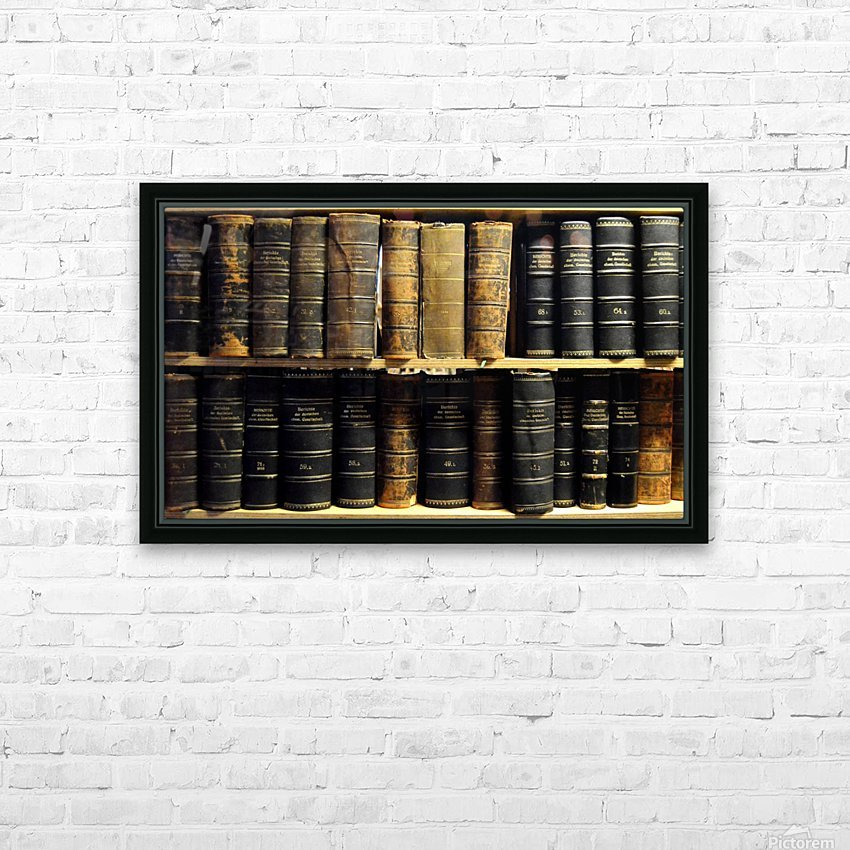 books old vintage library shelves HD Sublimation Metal print with Decorating Float Frame (BOX)
