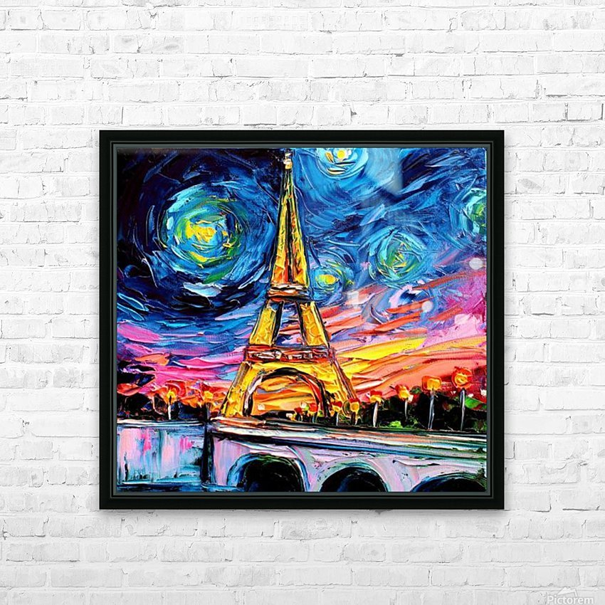 Eiffel Tower Starry Night print van Gogh HD Sublimation Metal print with Decorating Float Frame (BOX)