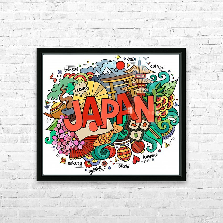 Earthquake and tsunami drawing japan illustration HD Sublimation Metal print with Decorating Float Frame (BOX)